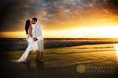 Beautiful beach wedding elopement with an incredible golden sunset at La Jolla Shores in San Diego, Ca.