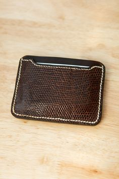 Minimalist Wallet Horween Derby and Lizard Skin by JacobsonLeather