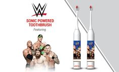 $7 Decorated with colorful WWE graphics, these two sonic toothbrushes wrestle tartar and plaque from teeth using gently vibrating bristles