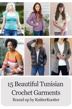 Here are 15 beautiful garments for women that you can make using Tunisian crochet. This is a collection of sweaters and cardigans where you can find something to make for any time of the year! Ranging from beginner friendly to intermediate, you can find something that matches your skill level. #tunisiancrochet #crochetgarment #easycrochet #patternroundup #crochetsweater #crochetcardigan #crochetforwomen
