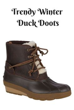 Sperry Saltwater Wedge Tide Shearling Duck Boot. These are so freaking cute! #duckboots #winterboots #rainboots #boots #trendyboots #ad