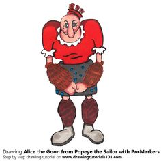 Alice the Goon from Popeye the Sailor with ProMarkers