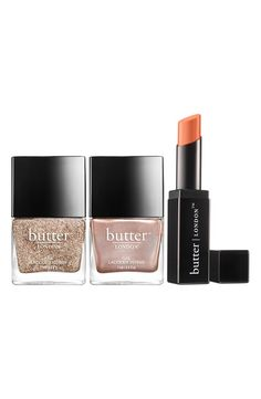 This limited-edition Butter London set nods to the nude trend that's always popular on the red carpet, featuring rich champagne glitter, rosy shimmer, and dark coral cream.