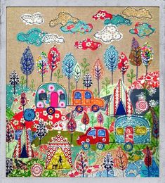 Now I am going to pull out my quilt design book and start designing a camping quilt. Appliqué fabric picture Going camping. By lucy Levenson. Applique Fabric, Sewing Appliques, Embroidery Applique, Raw Edge Applique, Freehand Machine Embroidery, Free Motion Embroidery, Fabric Art, Fabric Crafts, Sewing Crafts