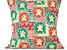 Gingerbread Man Christmas Pillow Cover Cushion Green Red Peppermint Stripes Holly Polka Dots Decorative 18x18 - pinned by pin4etsy.com