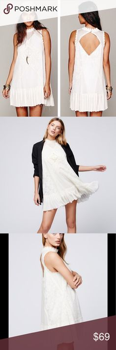 🆕Free People ONE Angel Lace Dress Pieced together lace and crochet dropwaist dress with raw edge pleated bottom hem. Featuring a high collar neckline and open back detailing. Two-button closure at the back of neck. Lined.  Old World embellishment with a modern twist. FP One is an exclusive, in-house label. SOLD OUT 100% Cotton Lining: 100% Cotton Hand Wash Cold Free People Dresses Mini