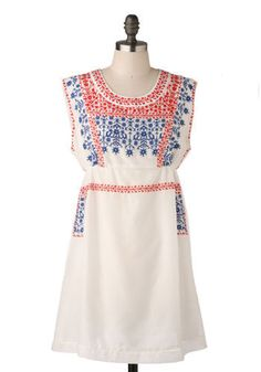 *** Hacienda Dress in Daytime. This luxurious cotton and silk blend frock is the perfect piece to take with you on your next Mexican getaway!  #modcloth