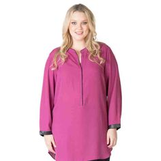 PRE-ORDER - PU Trim Shirt (CYCLAMEN) $69.95 http://www.curvyclothing.com.au/index.php?route=product/product&path=95_104&product_id=6824
