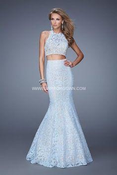 Powder Blue Long Two Piece Lace La Femme 21087 Mermaid Prom Gown Prom  Dreses 167d82221d90