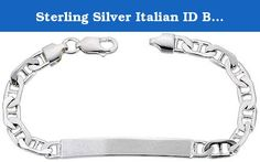 """Sterling Silver Italian ID Bracelet Mariner Link 1/4 inch wide NICKEL FREE, 9 inch. This ID Bracelet is made in Italy, Solid Sterling Silver and it's little less than 1/4"""" (6.0mm) wide It has an excellent polished finish. The ID plaque is nice and thick to match the thickness of the chain, and like most of our products it's all Nickel Free so it's Hypoallergenic and if the engraver makes a mistake it can be Buffed Out and Redone. Made In Italy, and comes with a Lobster Claw Clasp for..."""