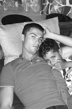 Cristiano Ronaldo Watching tv with his son