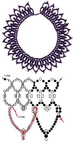 Free pattern for beautiful beaded  necklace Eva 11/0-szalma