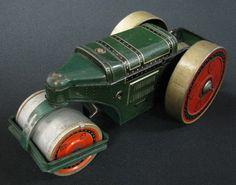 Early Vintage German Tin Wind Up Toy Asphalt Roller