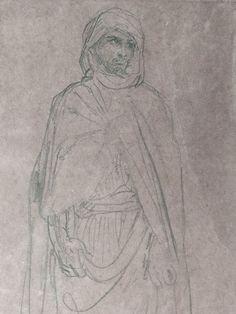 CHASSERIAU Théodore,1846 - Arabe debout, retenant un pli de son Burnous - drawing - Détail 16