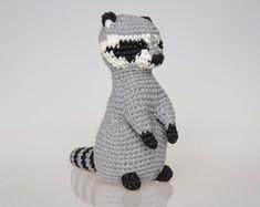 Raccoon Amigurumi Pattern, Raccoon Crochet Pattern, home decor, toy pattern, crochet art, crochet sculpture, easy crochet, racoon, raccon