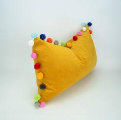 mustard pom pom cushion // jumbo pom pom pillow // mustard velvet pom cushion // yellow pom pom pillow by LiveLoveSmile on Etsy https://www.etsy.com/uk/listing/552155710/mustard-pom-pom-cushion-jumbo-pom-pom