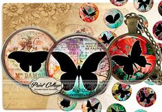 Butterfly Silhouette Digital Printable Sheet Cabochon images 1.5 inch 1 inch 16,12 mm round Printable's for pendants Instant download c262