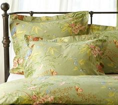 Sylvie Organic Duvet Cover & Sham #potterybarn: love this- makes me nostalgic-reminds me of the pattern on an old slip-covered chair in my Aunt Ruth's appt. Would love for my bed.