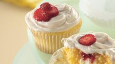 Berries and cream cheese provide the wow in simply delicious cake mix cupcakes.