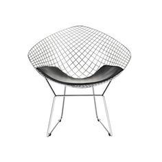 Bertoia Style Diamond Chair in Chrome Finish with White Seat Pad Modern Chairs, Modern Furniture, Wire Chair, Papasan Chair, Barrel Chair, Chair And Ottoman, Upholstered Chairs, Chair Cushions, Club Chairs