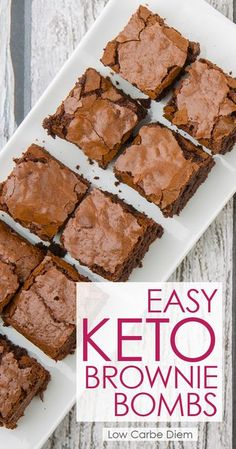 Low Carb Recipes Rich dark chocolate and fat bomb macros make these fluffy keto brownies the perfect dessert (or snack.) Full of healthy fats and perfectly low carb. Desserts Keto, Keto Snacks, Dessert Recipes, Recipes Dinner, Keto Desert Recipes, Keto Dessert Easy, Snacks Recipes, Carb Free Desserts, Keto Sweet Snacks