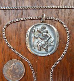 Surf Necklace, Coin Pendant Necklace, St Christopher Medal, Saint Christopher, Silver Pendants, Chain Pendants, Silver Rings, Pink Rims, Black Rims
