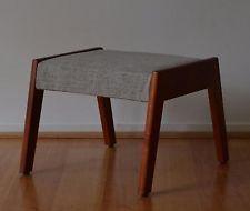 retro mid century danish modern solid myrtle timber foot stool, ottoman