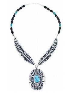 Native Navajo TOMMY SINGER Sterling Silver Feathers & Turquoise Pendant Necklace - http://elegant.designerjewelrygalleria.com/tommy-singer/native-navajo-tommy-singer-sterling-silver-feathers-turquoise-pendant-necklace/