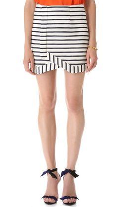 Striped wrap skirt.