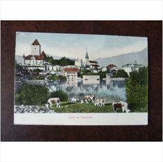 Switzerland Spiez am Thunersee Lake Thun vintage colour UPU postcard church cow