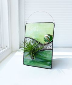 Stained Glass Panel Air Plant Holder - Green Glow. $28.99, via Etsy.