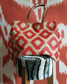 Red jud tote ikat printed bag