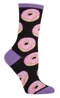 Mmm... My fingers are sticking to the keys.... How do I get these doughnut crumbs out of my keyboard? Pink glazed donuts with sprinkles on a black or mint crew sock. Fits shoes size 5-10.