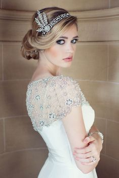Beauty  Gatsby Art Deco hair updo makeup headpiece beaded jewels