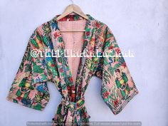 Floral handmade kantha jacket Japanese kimono style Floral kantha robe winter jacket multi colored tie belt coat reversible jacket kimono's Kimono Jacket, Print Jacket, Kimono Style, Kimono Dress, Coats For Women, Jackets For Women, Clothes For Women, Kimono Fashion, Women's Fashion