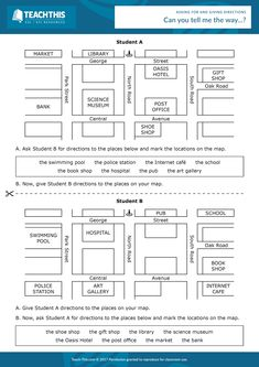 ESL Giving Directions Activity - Listening and Speaking - Pre-intermediate - 25 minutes In this fun worksheet activity, students practice asking for and giving directions to places on a map. English Teaching Materials, Teaching English Grammar, Teaching Vocabulary, Teaching Skills, Teaching Spanish, English Study, English Lessons, Learn English, Listening English