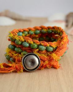 Sari silk bracelet. Orange and green boho jewelry