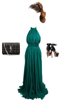 """""""Halter Dress"""" by zeynepkartal ❤ liked on Polyvore featuring Alexander McQueen, Givenchy, Yves Saint Laurent and halterdresses"""