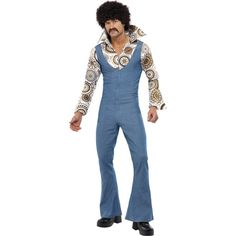 The winner takes it all! And you'll be sure to take it all in this funky ABBA 1970's Groovy Dancer Costume. Let's go out in the town and swing baby, yeah! this adult men's groovy dancer fancy dress costume comes with an all in one zippy denim look full body jumpsuit with flared trousers and a groovy 70's style white, brown and blue printed attached long sleeved shirt with oversized dramatic collar. Our daddy cool wig and hippy tash looks brilliant to finish this look! Includes ...