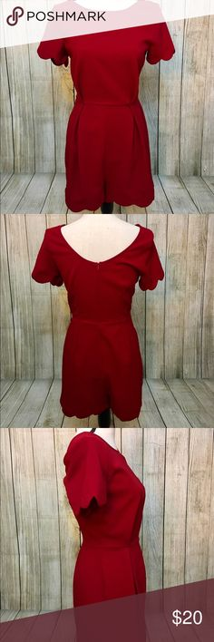 Red Scalloped Romper Deep red Romper with scalloped detail on sleeves and short's edges. Soft pleated detail on the front of the shorts. Elegant piece paired beautifully with gold or black pumps. Gently worn once. Looking for a loving home❤️🐘 Other