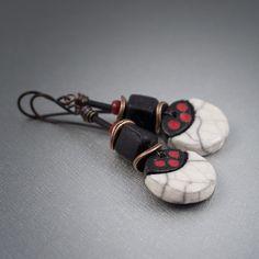 ceramic raku earrings • tribal earrings • crackled ceramic pendant • artisan earrings • red, black, white • rustic copper earrings • ethnic by entre2et7 on Etsy