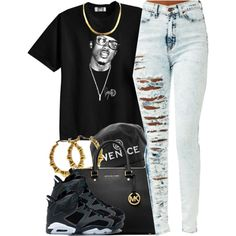 A fashion look from July 2014 featuring graphic tees, distressed jeans and purple shoes. Browse and shop related looks.