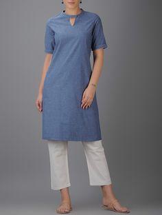 Blue Cotton Kurta by The Wooden Closet.