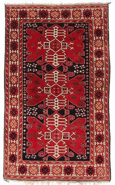 3' 5 x 5' 9 Antique Oriental Turkish Area Rug Hand Knotted Wool Carpet Geometric