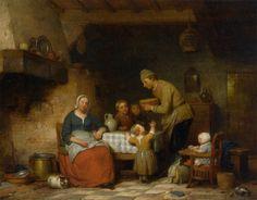 Ferdinand de Braekeleer the Elder (1792-1885) - A Peasant Family gathered around the Kitchen Table