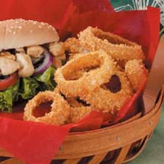 Sweet, baked onion rings - we really like these.  If you're going to double the batch, put the corn flake mixture in two separate bowls so it doesn't get too wet to stick.