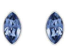 LOVE. Liz Pierced Earring Jackets, Blue, Rhodium plating from #Swarovski