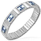 Stainless Steel Silver Tone Star of David Jewish Stretch Israeli Flag of Israel Bracelet - Stainless Steel Silver Tone Star of David Jewish Stretch Israeli Flag of Israel Bracelet    Gender: UnisexMaterial: Stainless SteelLength: Adjustable (8.00in -