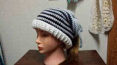 Check out this item in my Etsy shop https://www.etsy.com/listing/502288156/a-ponytail-hat-slouchy-hat-and-headband