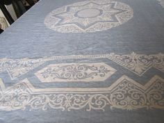 Tablecloth 70 x 70 Square DAMASK LINEN Blue and White by dhedwards, $52.00